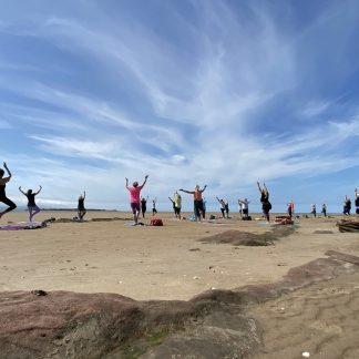 Pop-up beach yoga